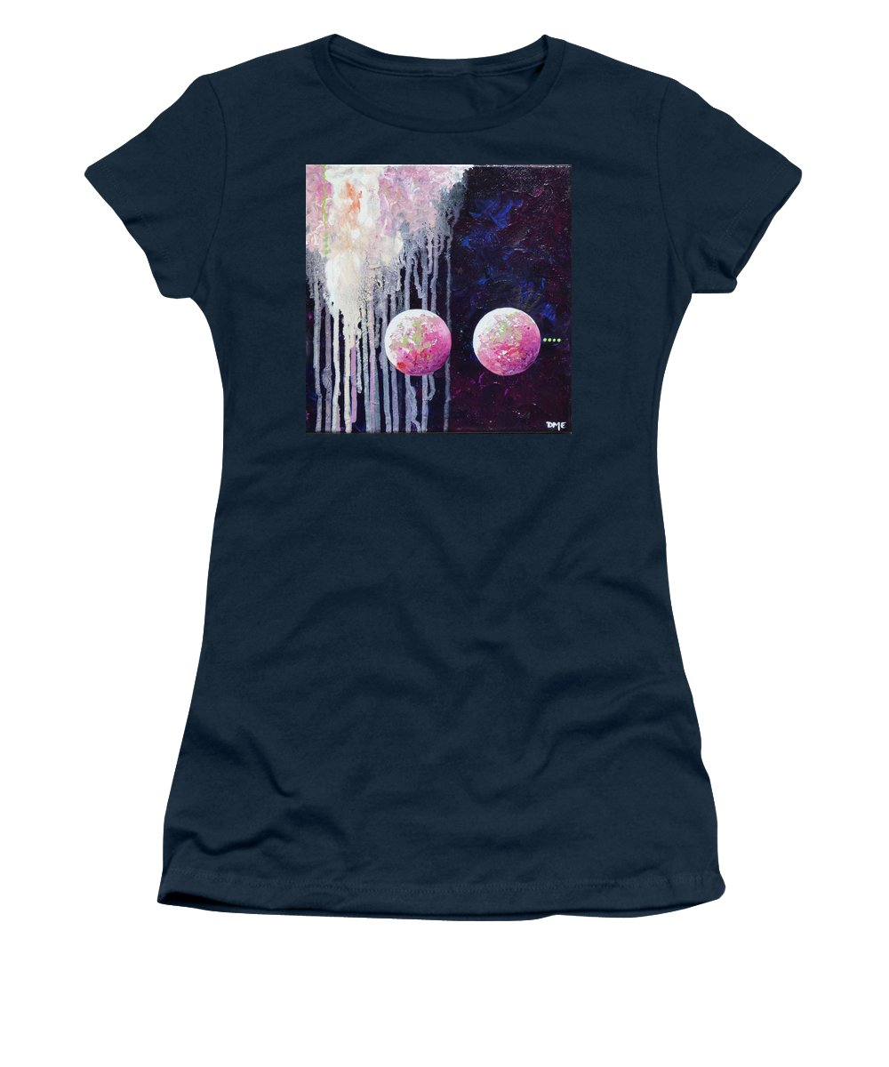 Abstract Sphere Ball Planet Star Universe Orb Pink Cloud Drip Women's T-Shirt featuring the painting Pinkies by Dianne Margaret Evans