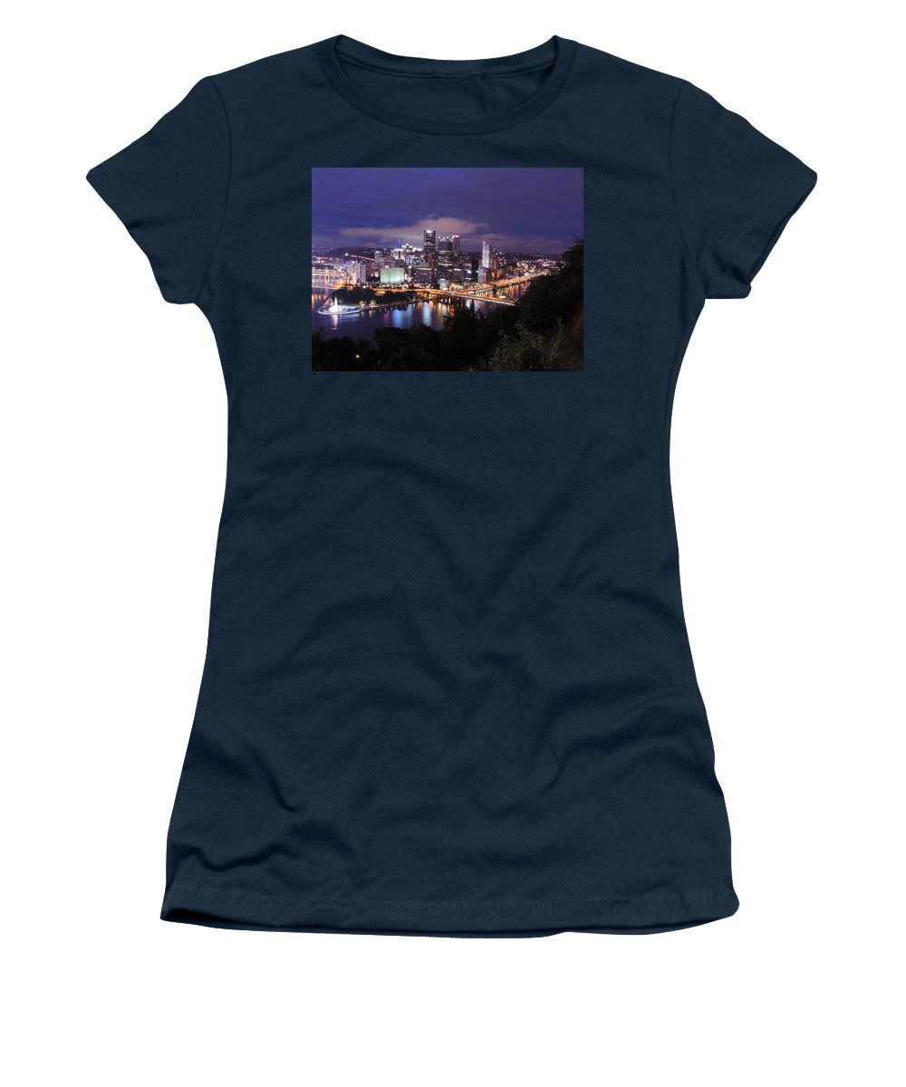 City Women's T-Shirt featuring the photograph Pittsburgh Skyline At Night From Mount Washington 3 by Cityscape Photography