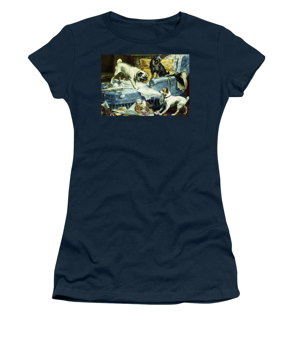 1890s Women's T-Shirt featuring the painting Playing Havoc by Charles van den Evcken