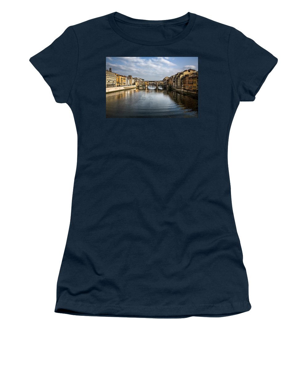 Italy Women's T-Shirt (Athletic Fit) featuring the photograph Ponte Vecchio by Dave Bowman