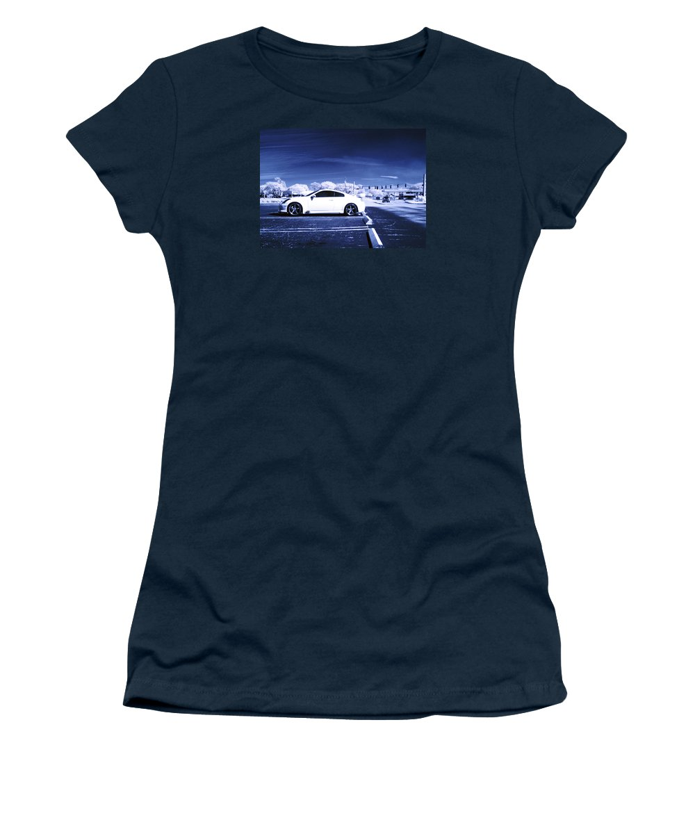 America Women's T-Shirt (Athletic Fit) featuring the photograph Porsche Car Side Profile Blue Near Infrared by Sally Rockefeller