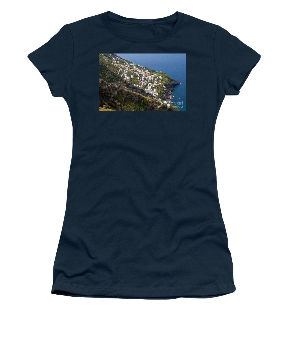 Praiano Amalfi Coast Mountain Mountains Village Villages Church Churches Mediterranean Sea Water House Houses Building Buildings Structure Structures Architecture Hillside Farm Farms Landscape Landscapes Waterscape Waterscapes Women's T-Shirt featuring the photograph Praiano Village by Bob Phillips