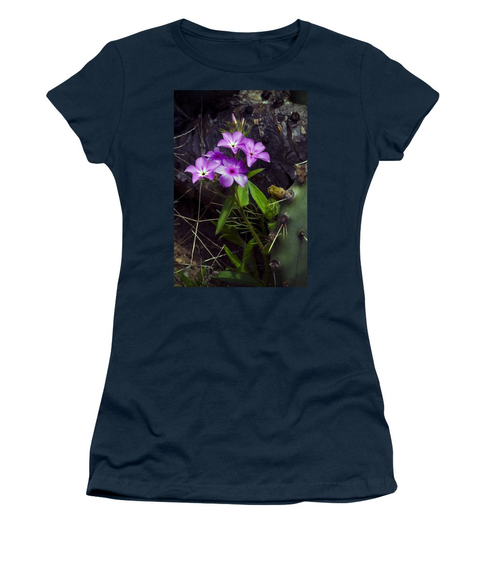 Texas Women's T-Shirt (Athletic Fit) featuring the photograph Purple Flower At Enchanted Rock by Greg Reed