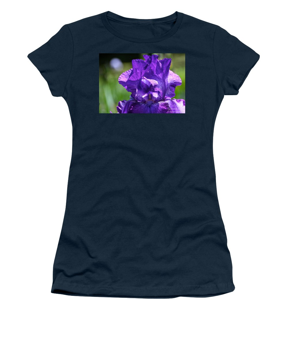 Flower Women's T-Shirt featuring the photograph Purple Pandora by Susan Herber