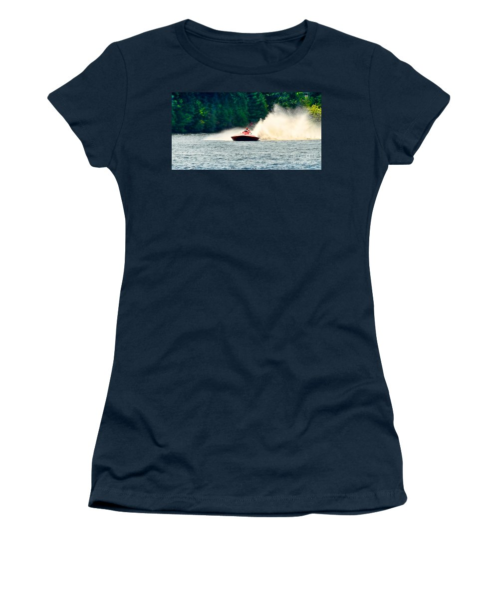 Boat Women's T-Shirt featuring the photograph Racing Speed Boat by Les Palenik