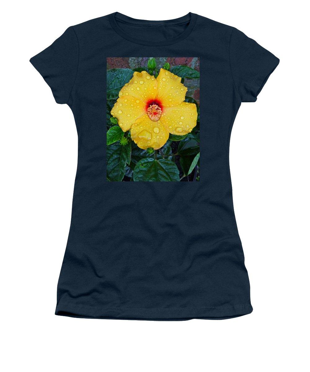 Flower Women's T-Shirt featuring the photograph Raindrops by Ellen Paull