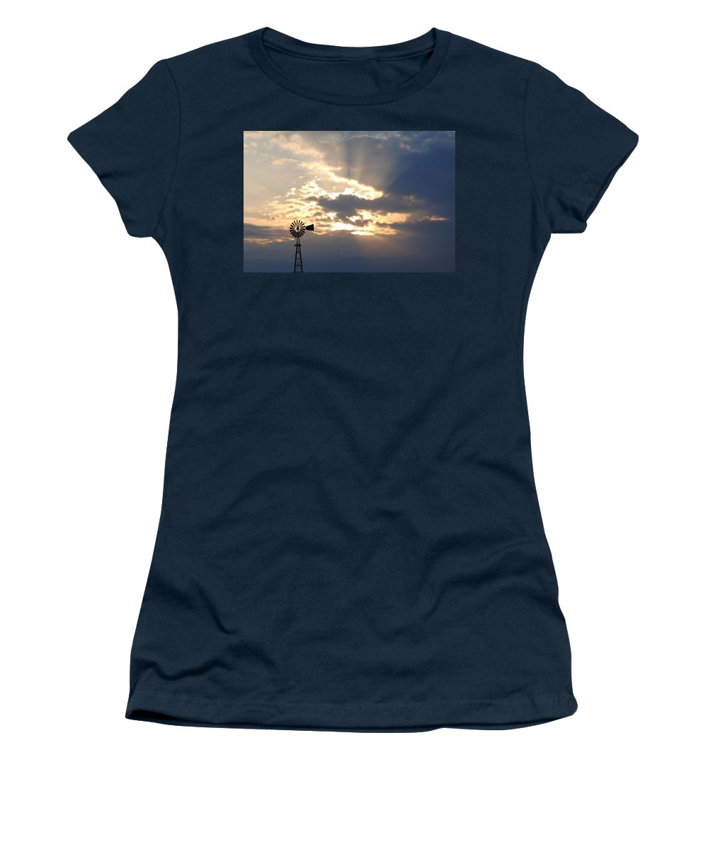 Windmill Women's T-Shirt (Athletic Fit) featuring the photograph Rays Behind The Mill by Eric Liller