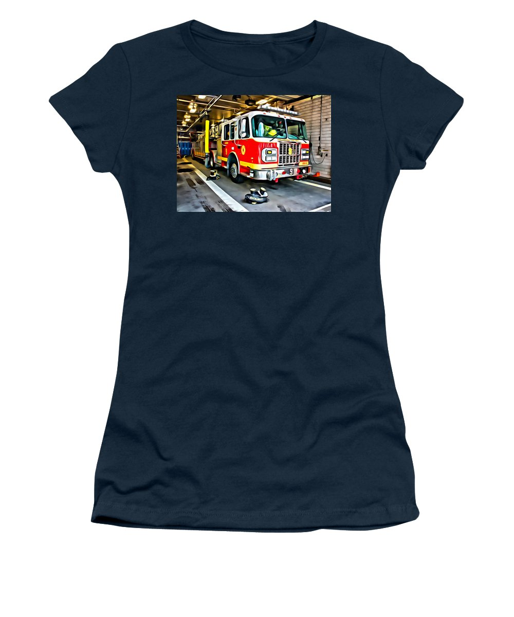 Firetruck Women's T-Shirt featuring the photograph Ready For Anything by Alice Gipson