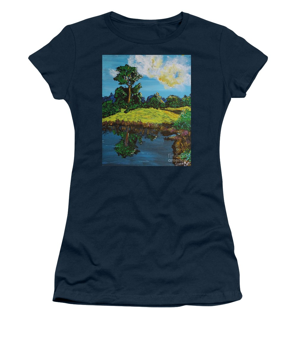 Landscape Women's T-Shirt (Athletic Fit) featuring the painting Reflecting by Stefan Duncan