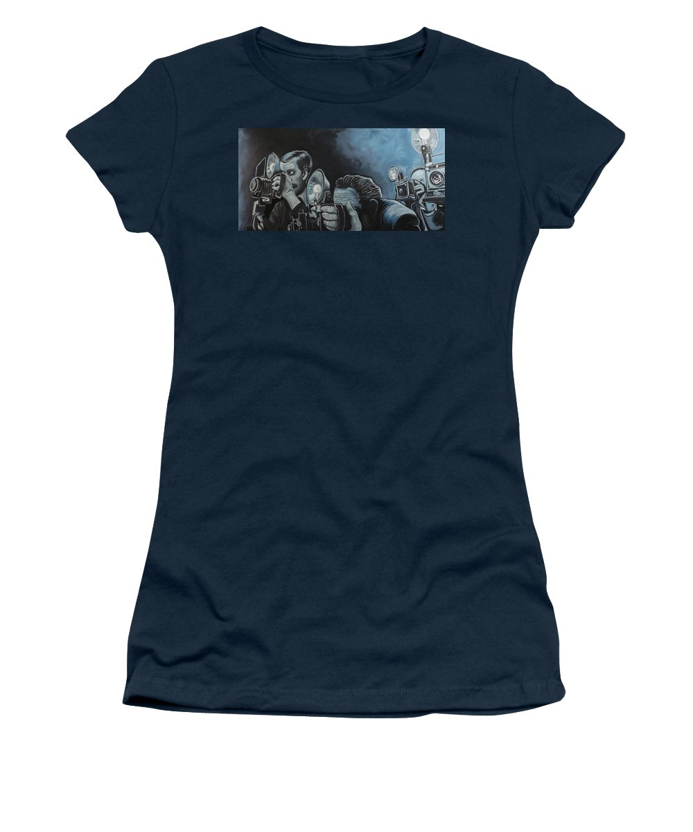 Press Photographer Women's T-Shirt featuring the painting Ringside Press by Doug LaRue