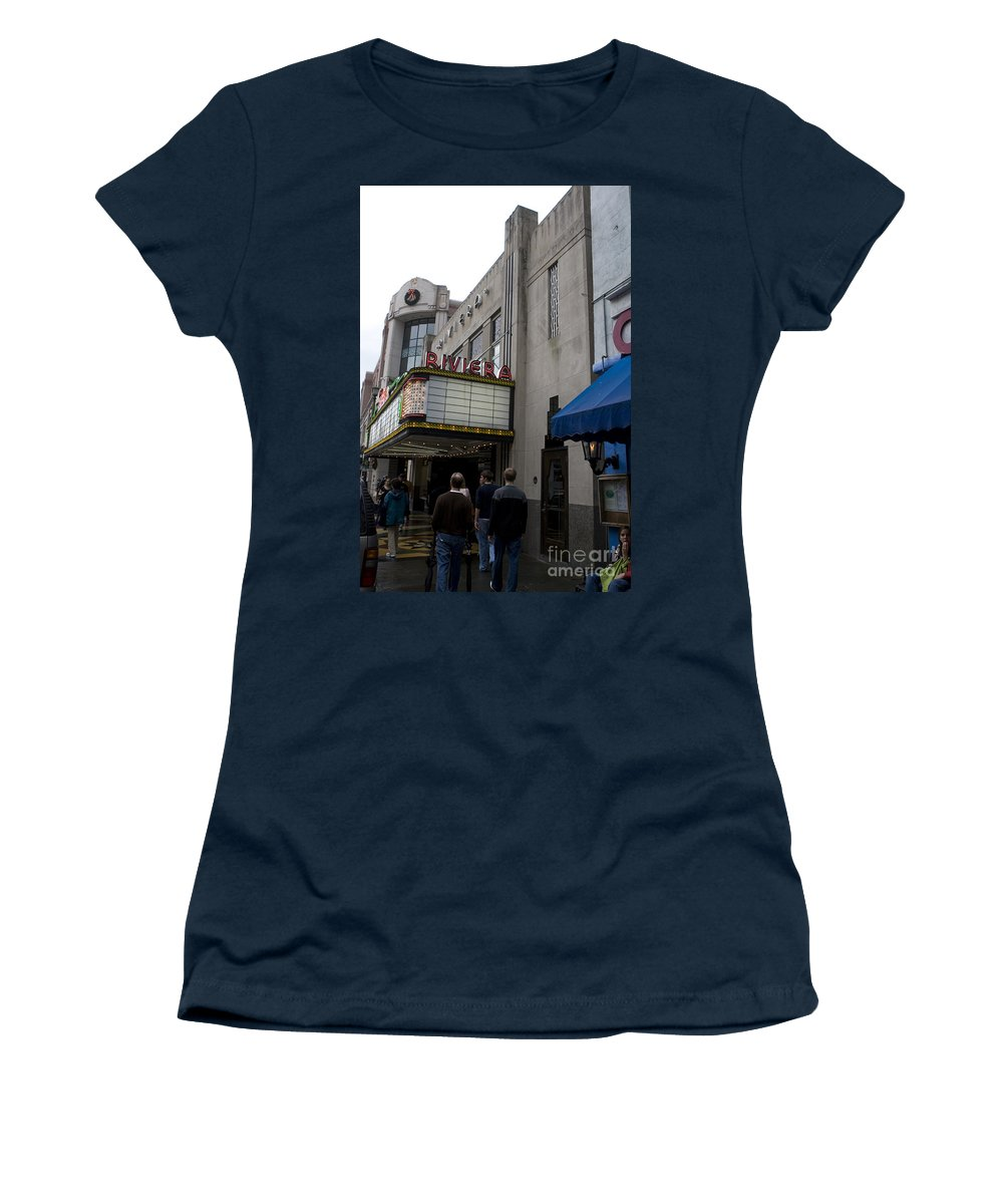 Riviera Theater Women's T-Shirt (Athletic Fit) featuring the photograph Riviera Theatre Charleston South Carolina by Jason O Watson