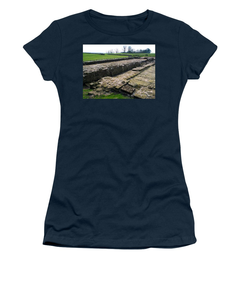 History Women's T-Shirt featuring the photograph Roman Fort Ruins, England by Tim Holt