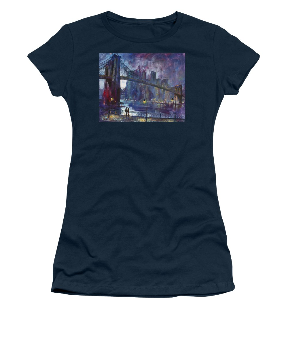 Brooklyn Bridge Women's T-Shirt featuring the painting Romance by East River NYC by Ylli Haruni