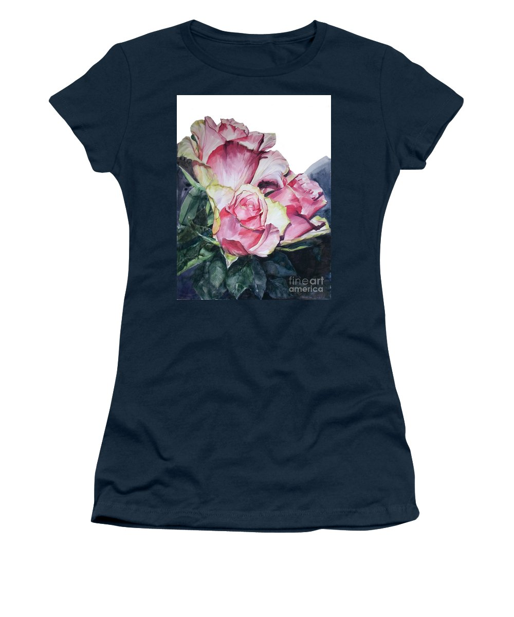 Watercolor Women's T-Shirt (Athletic Fit) featuring the painting Watercolor Of A Bouquet Of Pink Roses I Call Rose Michelangelo by Greta Corens