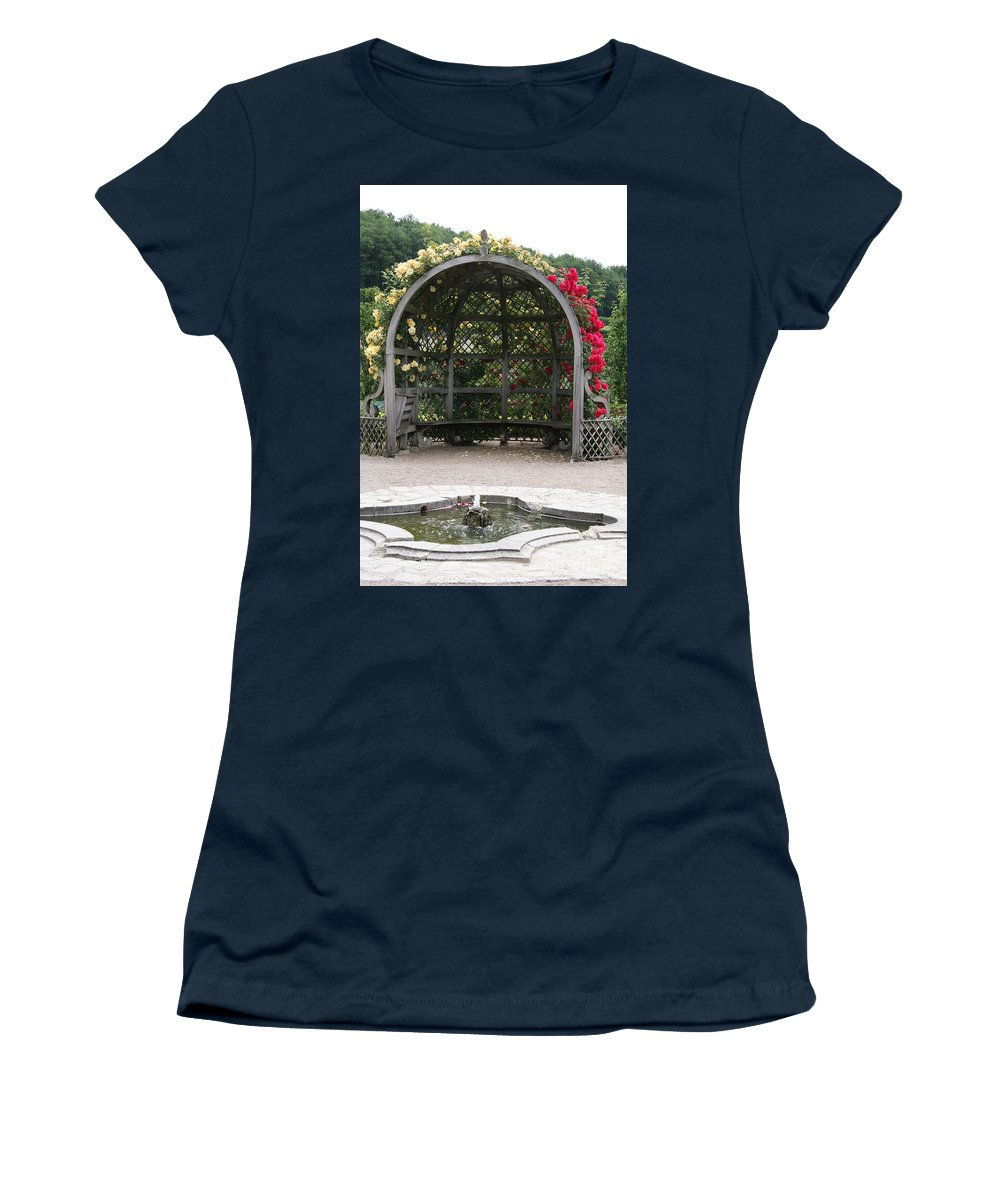 Roses Women's T-Shirt featuring the photograph Rose Pavilion At Chateau Villandry by Christiane Schulze Art And Photography