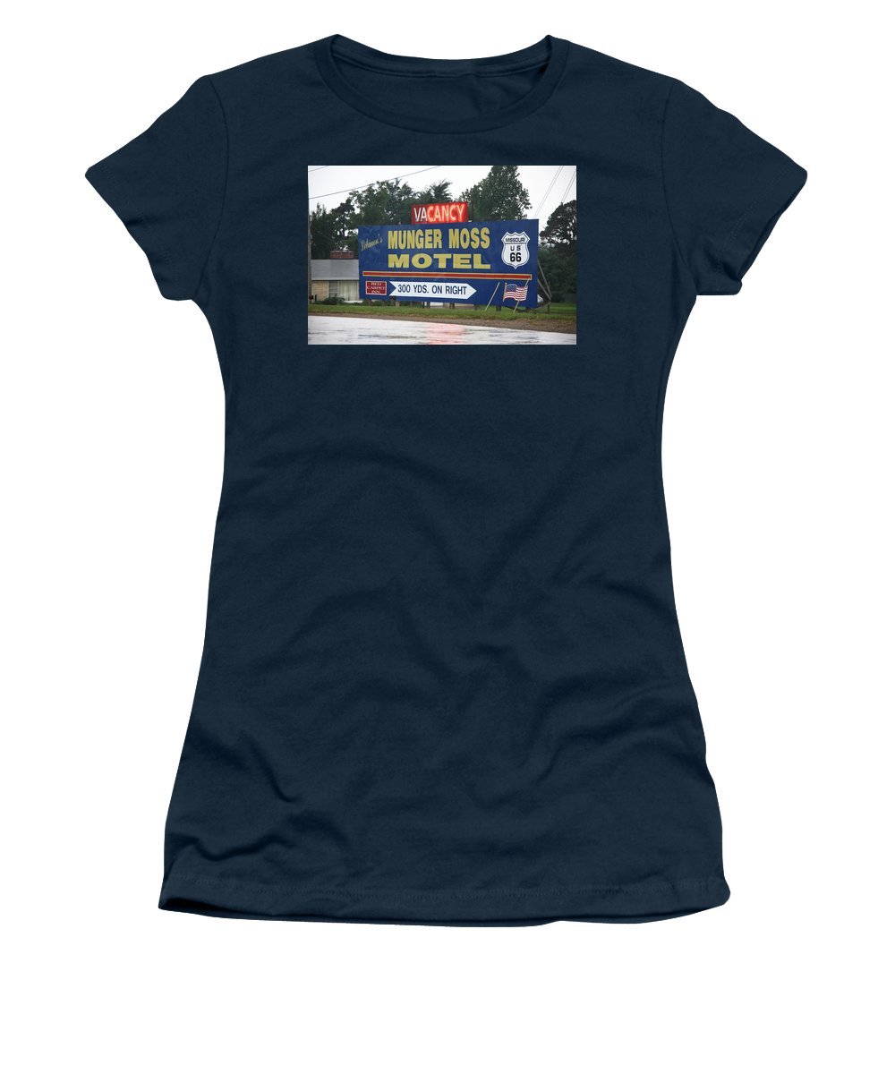 66 Women's T-Shirt (Athletic Fit) featuring the photograph Route 66 - Munger Moss Motel Sign by Frank Romeo