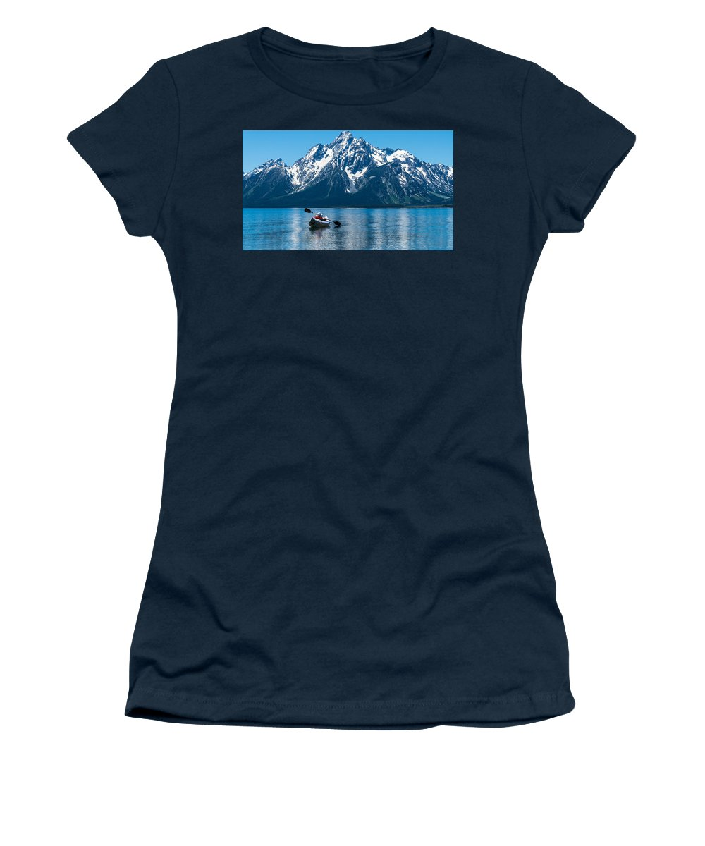Grand Teton Women's T-Shirt featuring the photograph Row Your Boat by Kristopher Schoenleber
