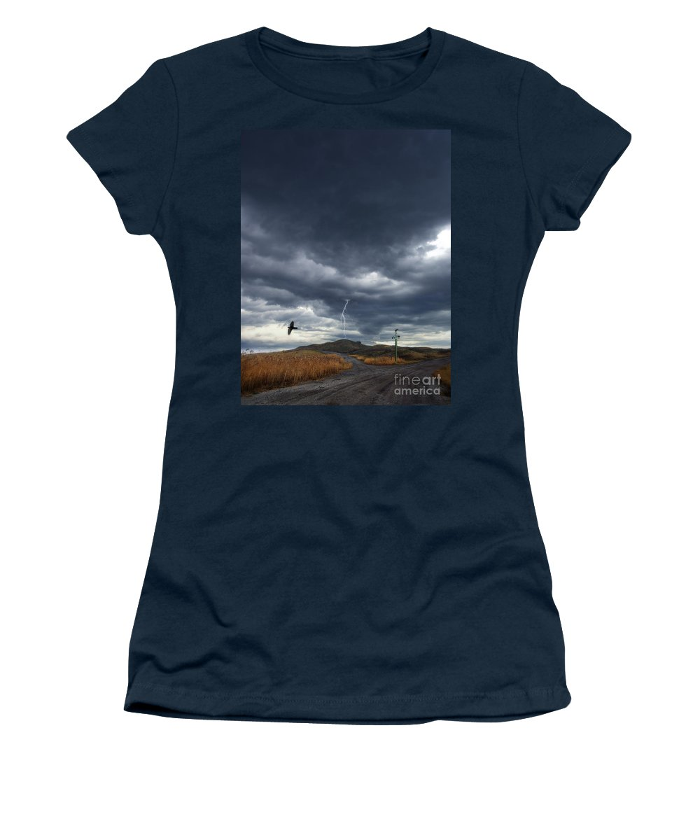 Road Women's T-Shirt featuring the photograph Rural Road In Lightning Storm by Jill Battaglia