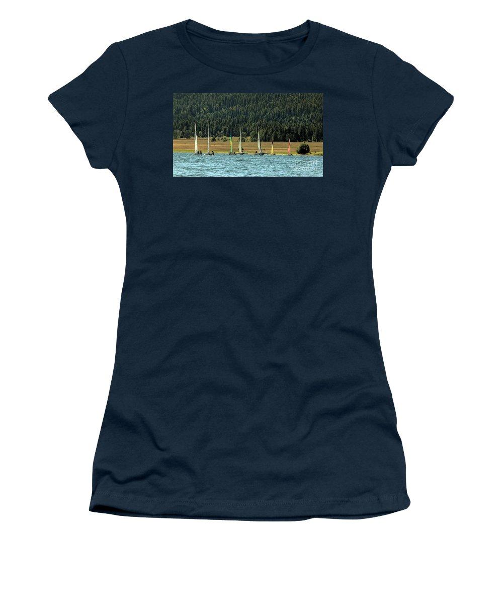 Cascade Lake Women's T-Shirt featuring the photograph Sailboat Regatta Cascade Lake by Robert Bales
