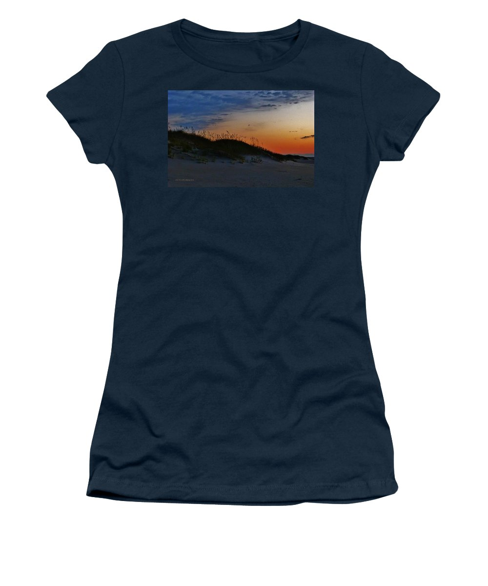 Seascape Women's T-Shirt (Athletic Fit) featuring the photograph Sand Dune Sunrise by Holly Dwyer
