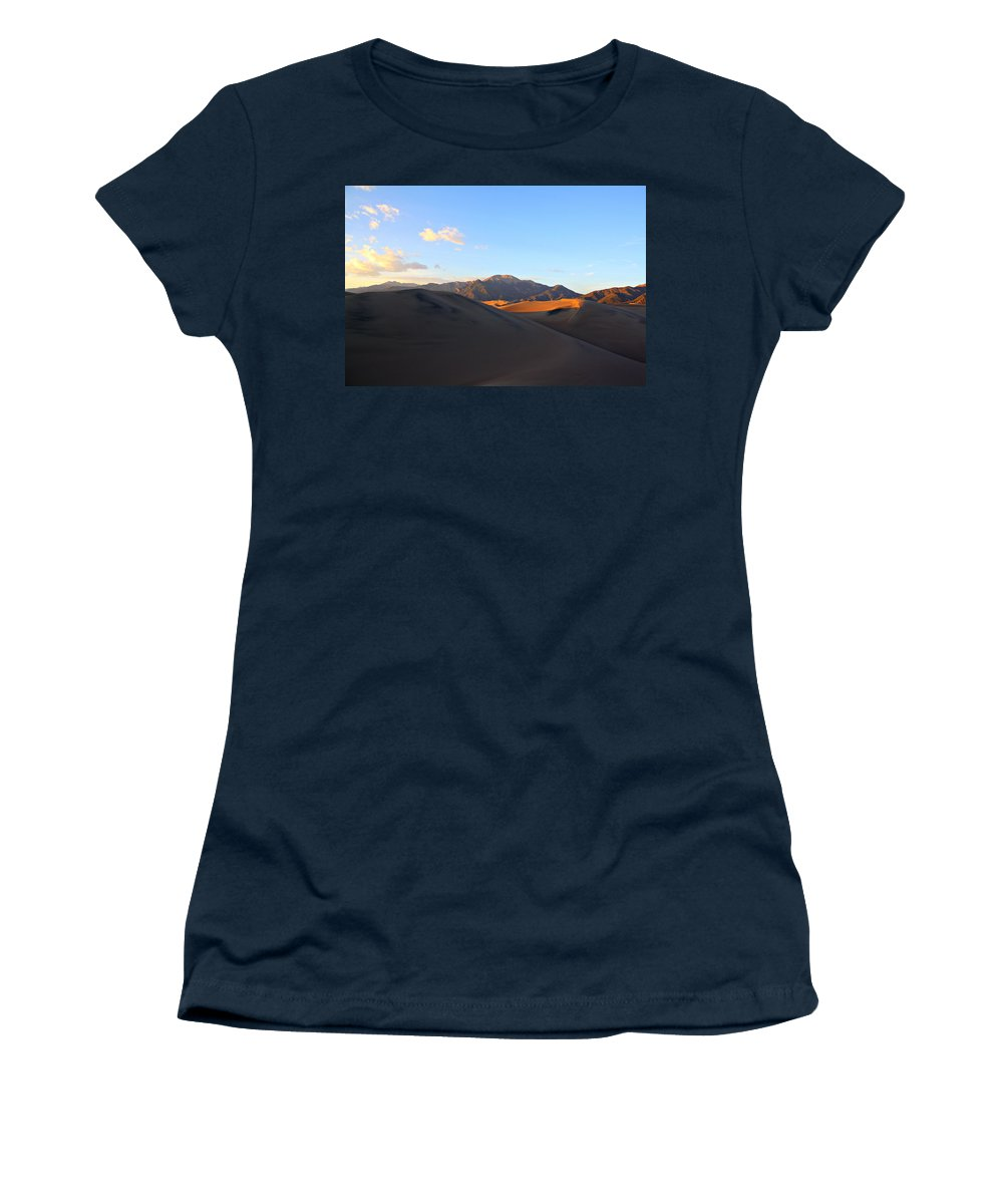 Sand Women's T-Shirt (Athletic Fit) featuring the photograph Sand Dune Sunset 2 by Marcelo Albuquerque