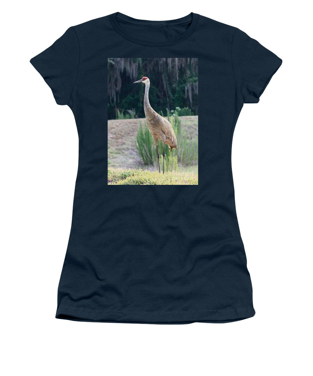 Sandhill Women's T-Shirt featuring the photograph Sandhill Standing Tall by Carol Groenen