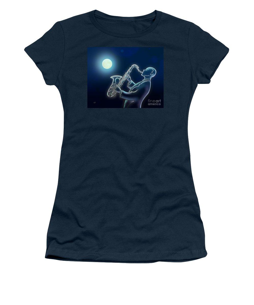 Moon Women's T-Shirt featuring the digital art Sax-o-moon by Peter Awax