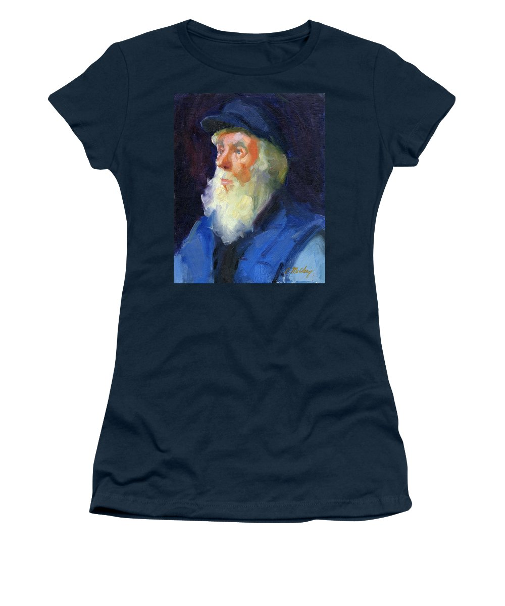 Sea Captain Women's T-Shirt featuring the painting Sea Captain 2 by Diane McClary