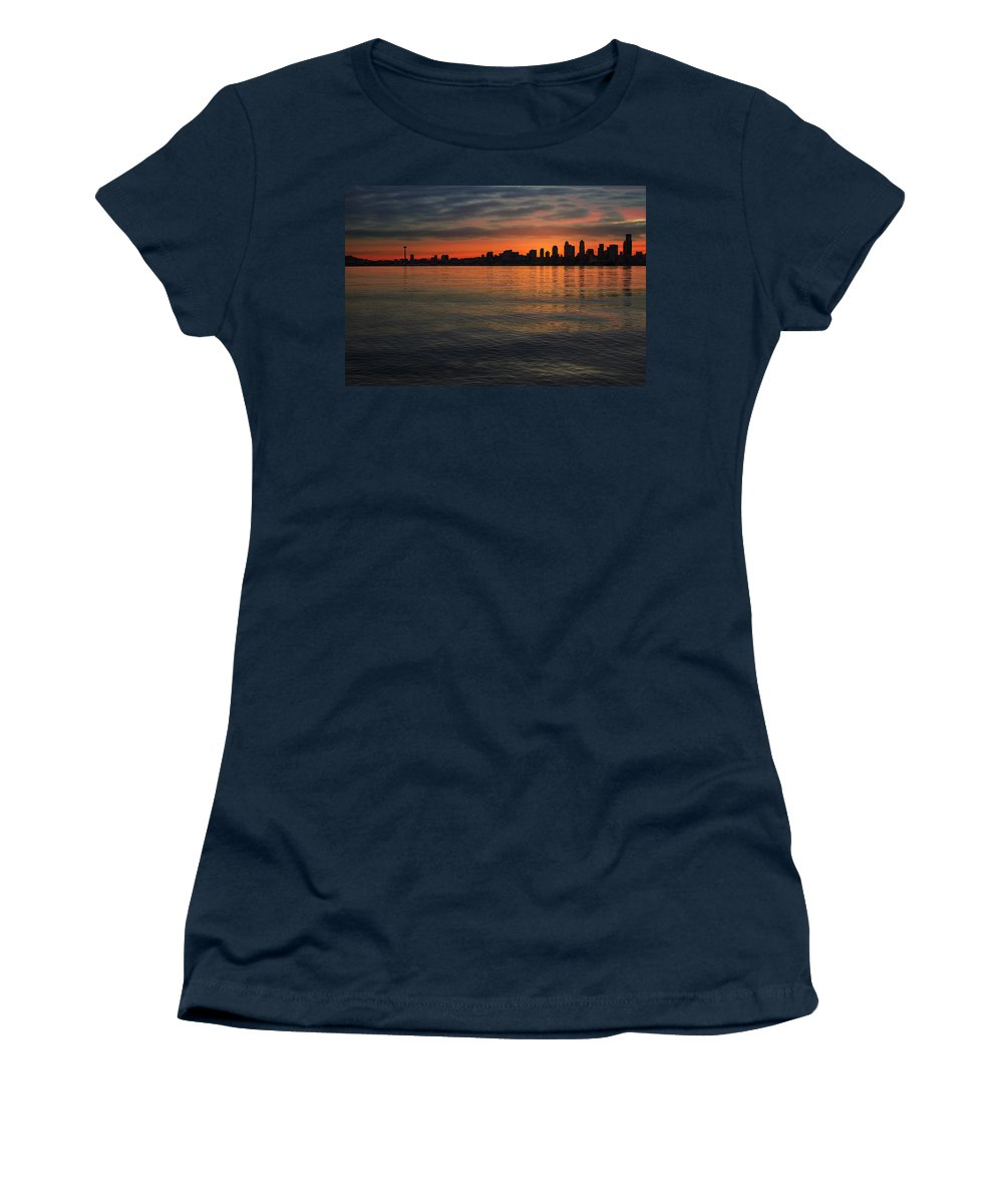 Seattle Women's T-Shirt featuring the photograph Seattle Skyline At Dawn by Jit Lim