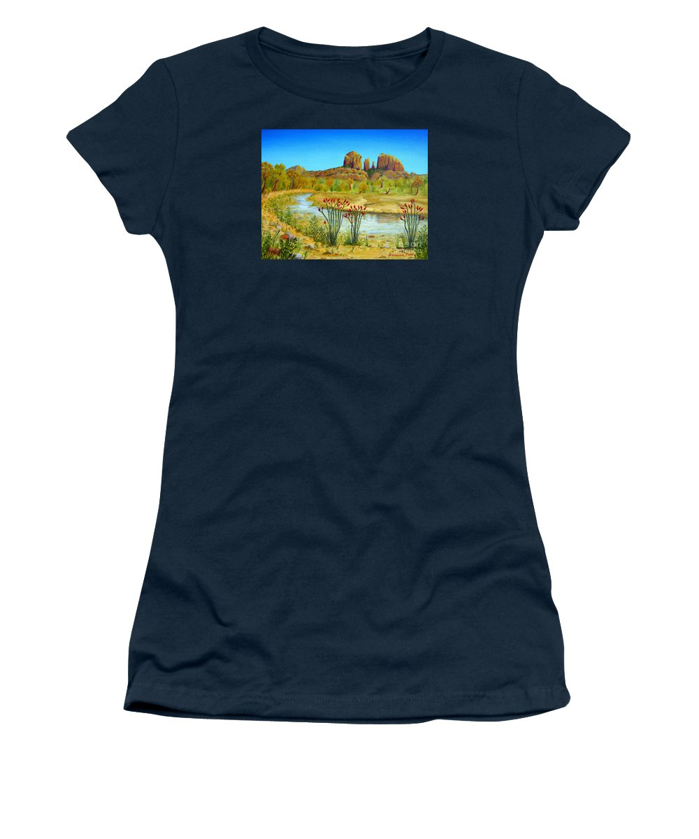 Sedona Women's T-Shirt featuring the painting Sedona Arizona by Jerome Stumphauzer