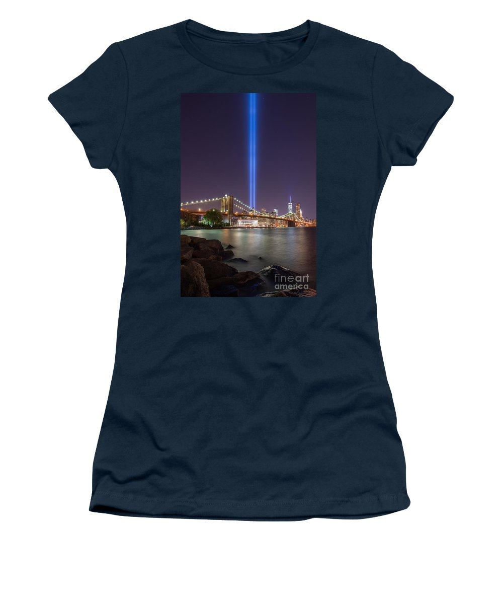 Lovers Embrace Women's T-Shirt featuring the photograph September 11th At Dumbo Ny by Michael Ver Sprill