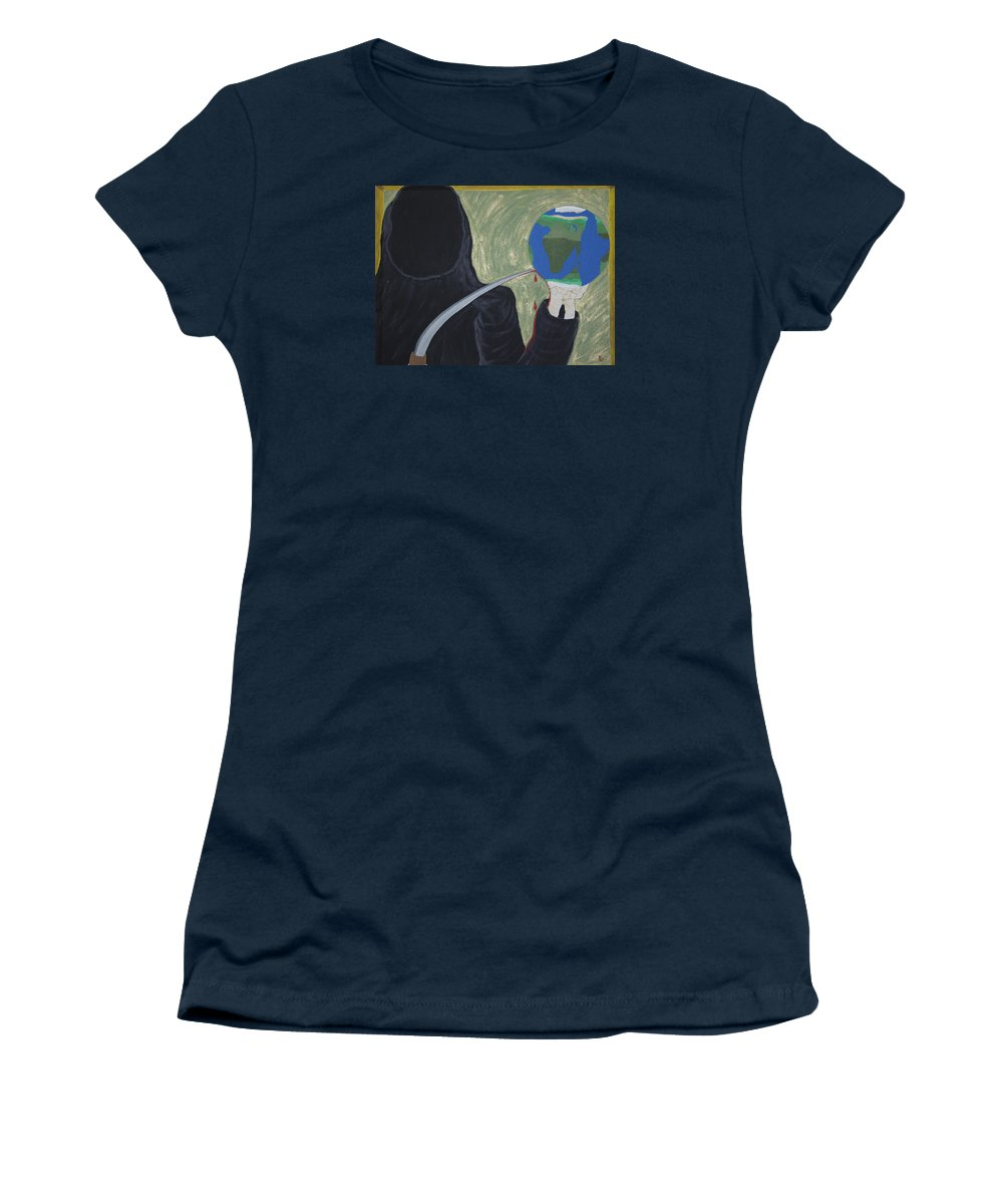 Painting Women's T-Shirt featuring the painting Shadow Of Fear by Dean Stephens