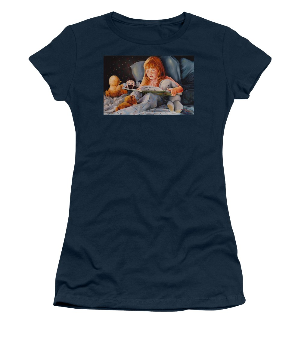 Child Women's T-Shirt (Athletic Fit) featuring the painting Shaina's Friends by Duane R Probus