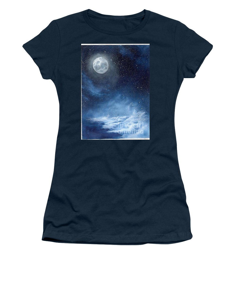 Cosmos Women's T-Shirt (Athletic Fit) featuring the painting Shimmer by Murphy Elliott