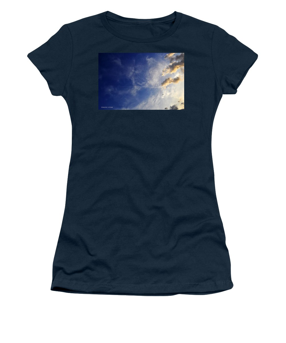 Sky Women's T-Shirt featuring the photograph Sky Plane Bird From The Series The Imprint Of Man In Nature by Verana Stark