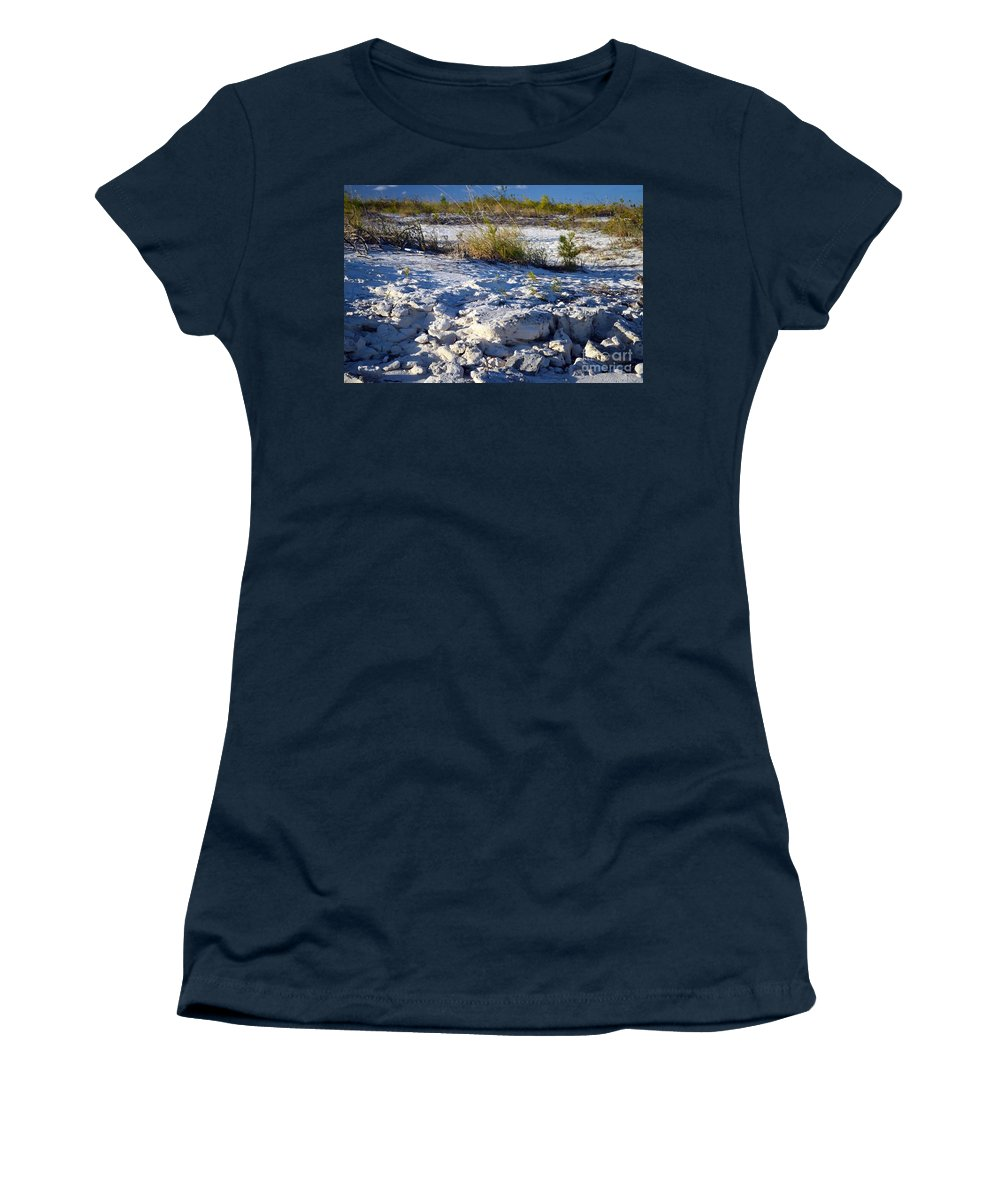 Turks And Caicos Women's T-Shirt featuring the photograph Snowy Beach by Judy Wolinsky
