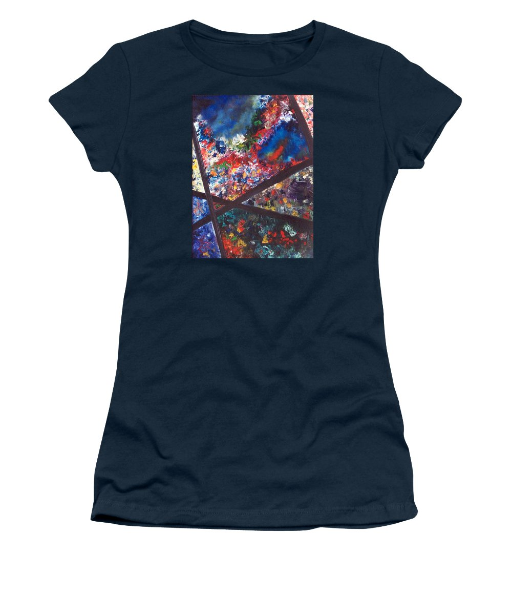 Abstract Women's T-Shirt featuring the painting Spectral Chaos by Micah Guenther