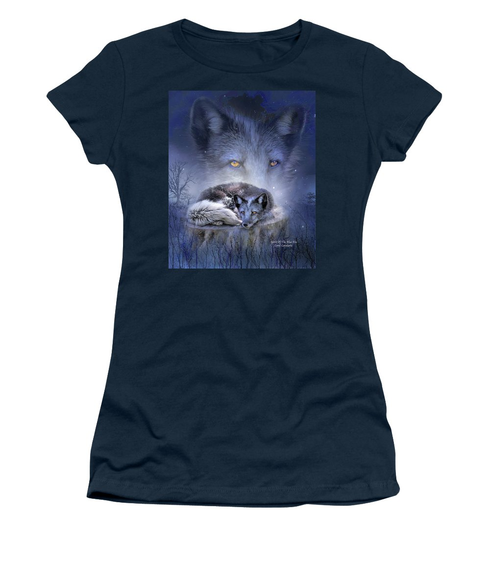 Fox Women's T-Shirt (Athletic Fit) featuring the mixed media Spirit Of The Blue Fox by Carol Cavalaris
