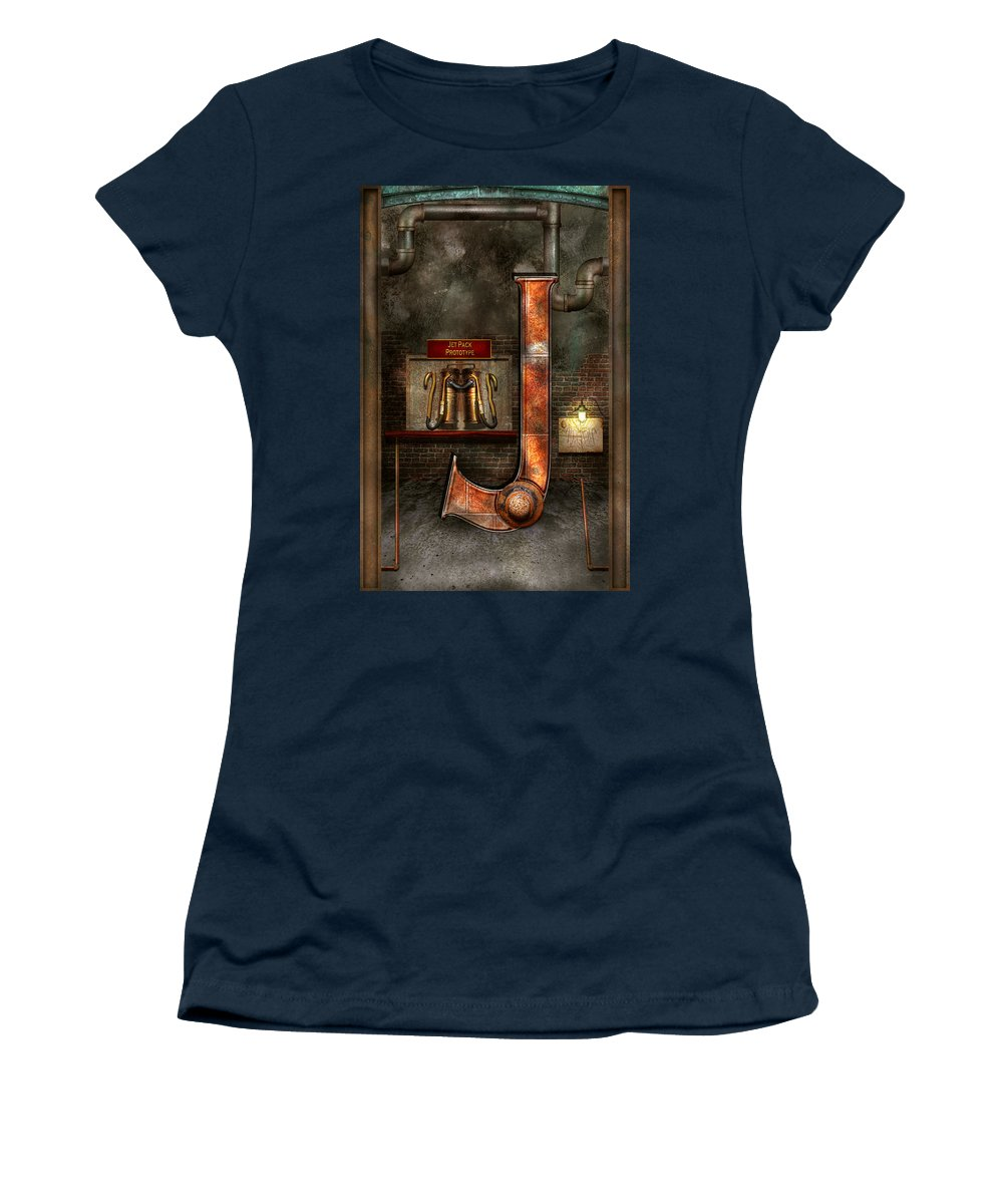 Self Women's T-Shirt featuring the photograph Steampunk - Alphabet - J Is For Jet Pack by Mike Savad