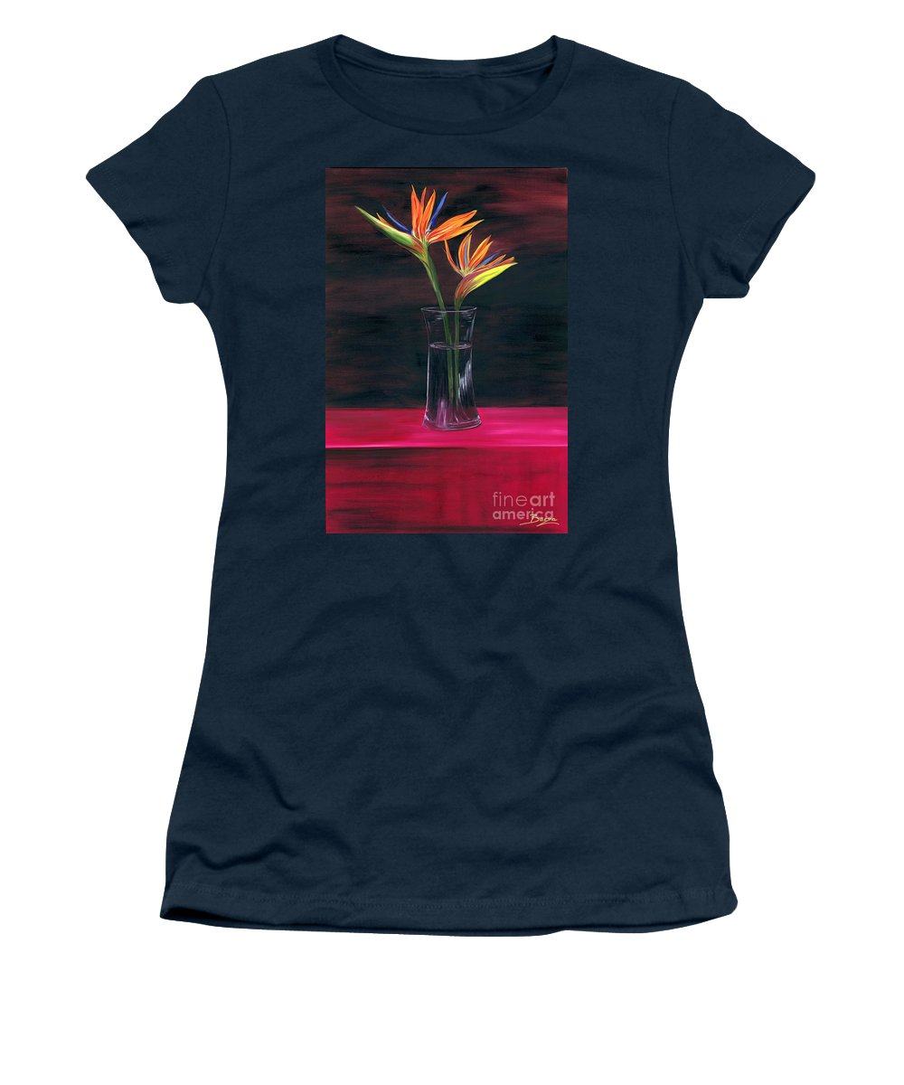 Still Life Women's T-Shirt featuring the painting Still Paradise by Christine Baeza