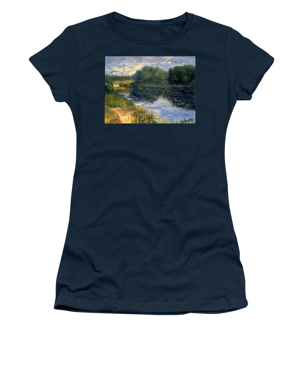 Landscape Women's T-Shirt (Athletic Fit) featuring the painting Summer At Jackson Lake by Gail Kirtz