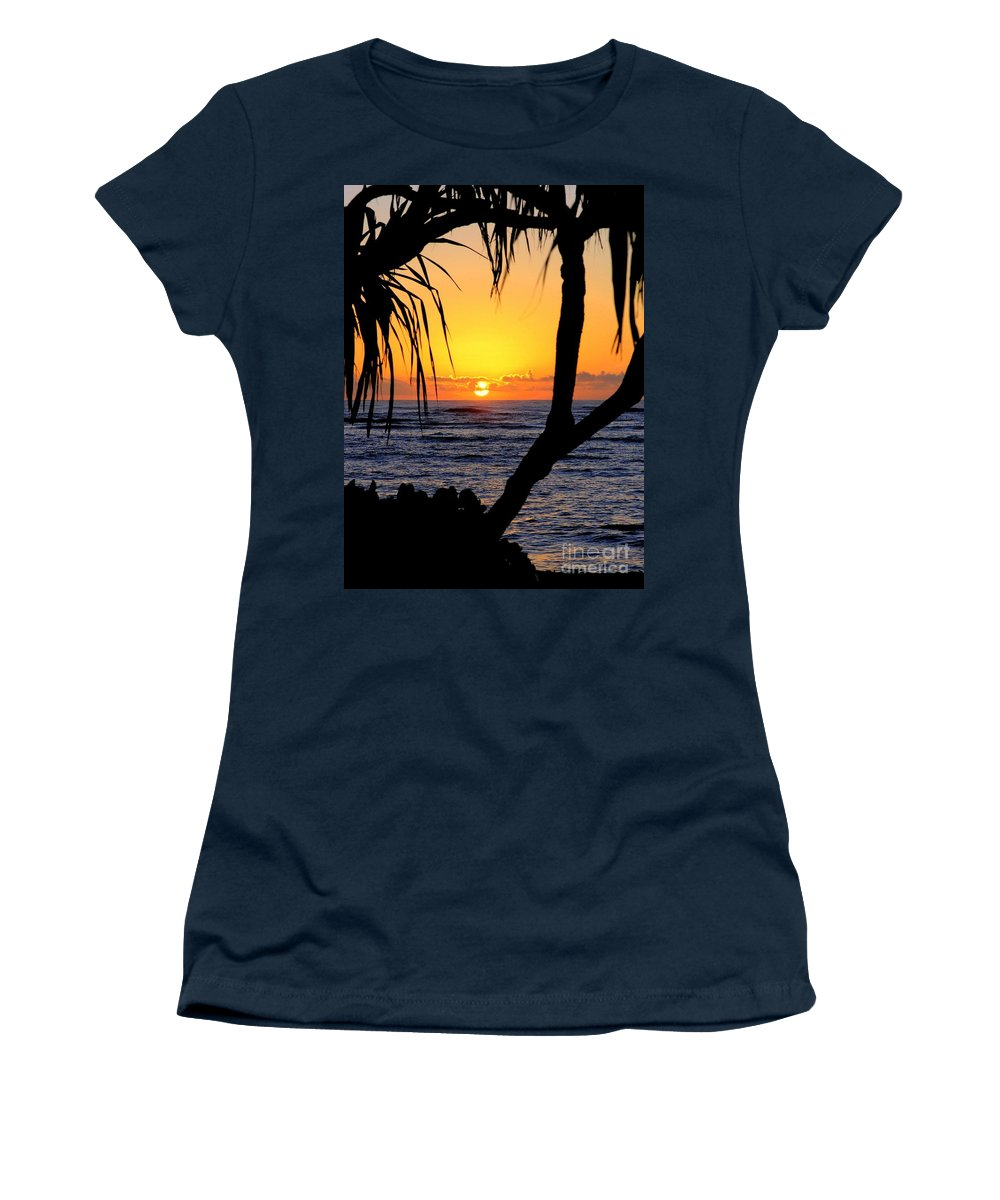 Seascape Women's T-Shirt (Athletic Fit) featuring the photograph Sunrise Fuji Beach Kauai by Mary Deal