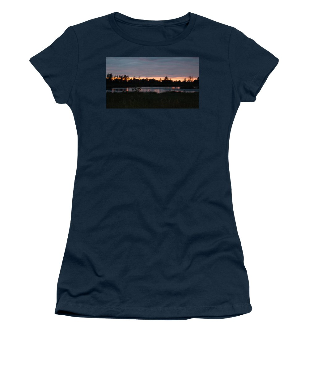 Sunset Women's T-Shirt (Athletic Fit) featuring the photograph Sunset by Linda Kerkau