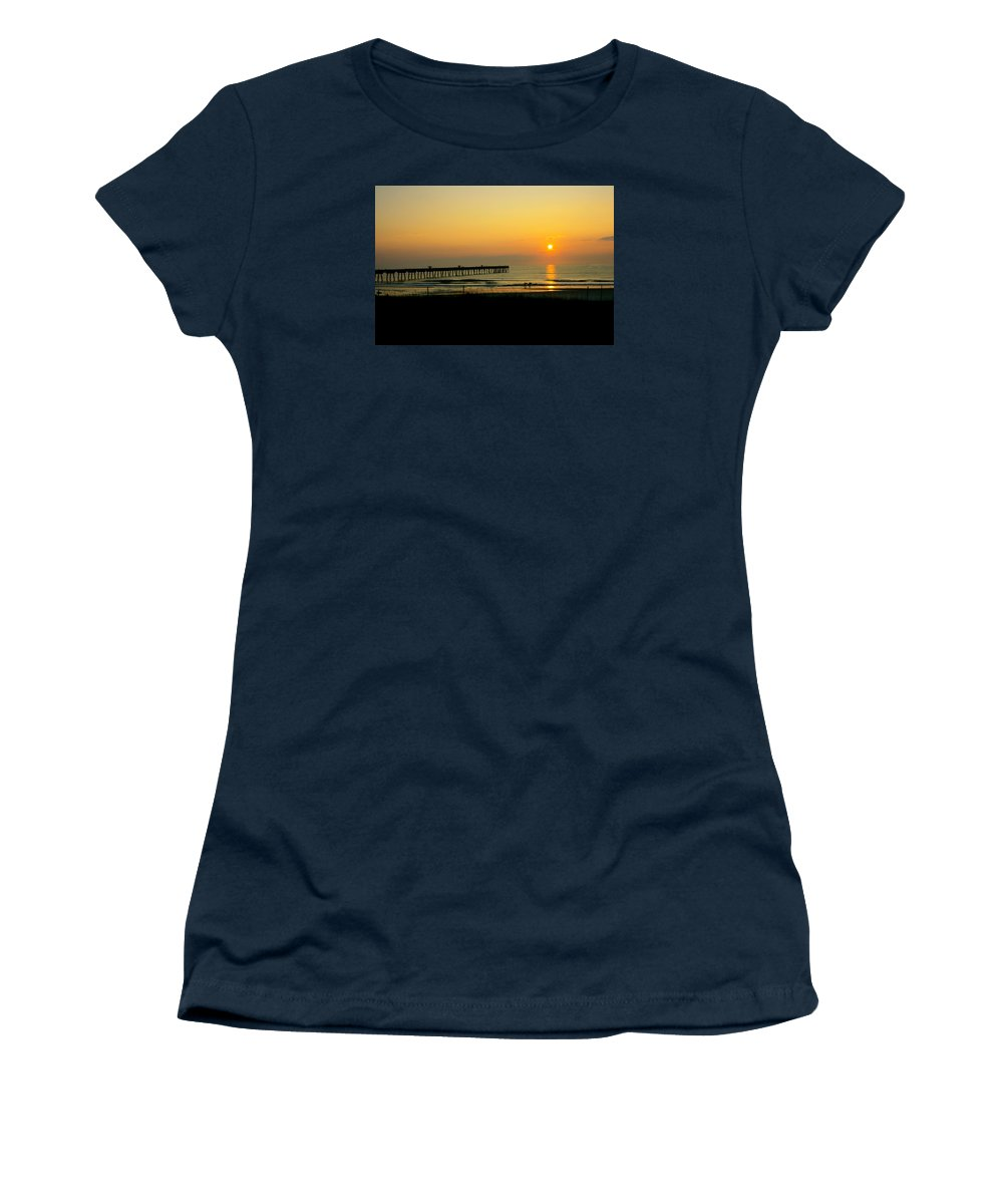 Ocean Women's T-Shirt featuring the photograph Surfers Sunrise by Susan McMenamin