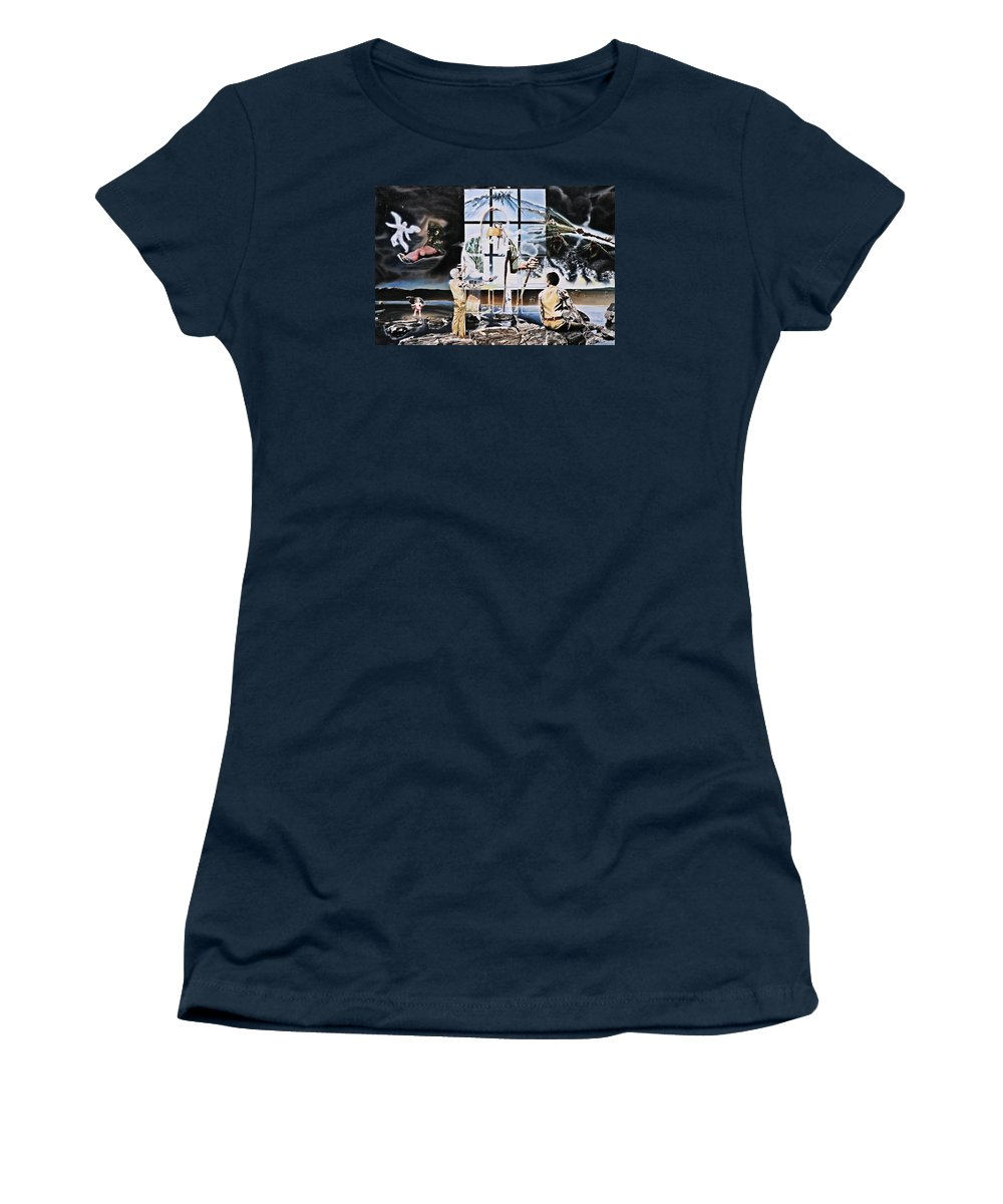 Surreal Women's T-Shirt (Athletic Fit) featuring the painting Surreal Windows Of Allegory by Dave Martsolf