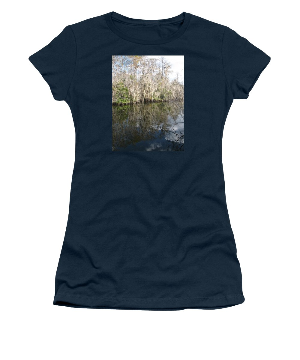 Swamp Women's T-Shirt (Athletic Fit) featuring the photograph Bold Cypress Reflection by Christiane Schulze Art And Photography