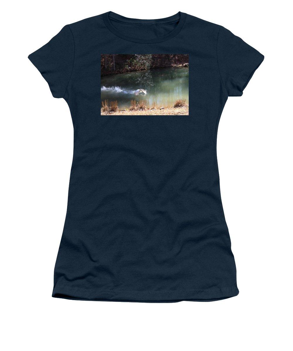 Swan Landing Women's T-Shirt featuring the photograph Swan Skid by Jan Dappen