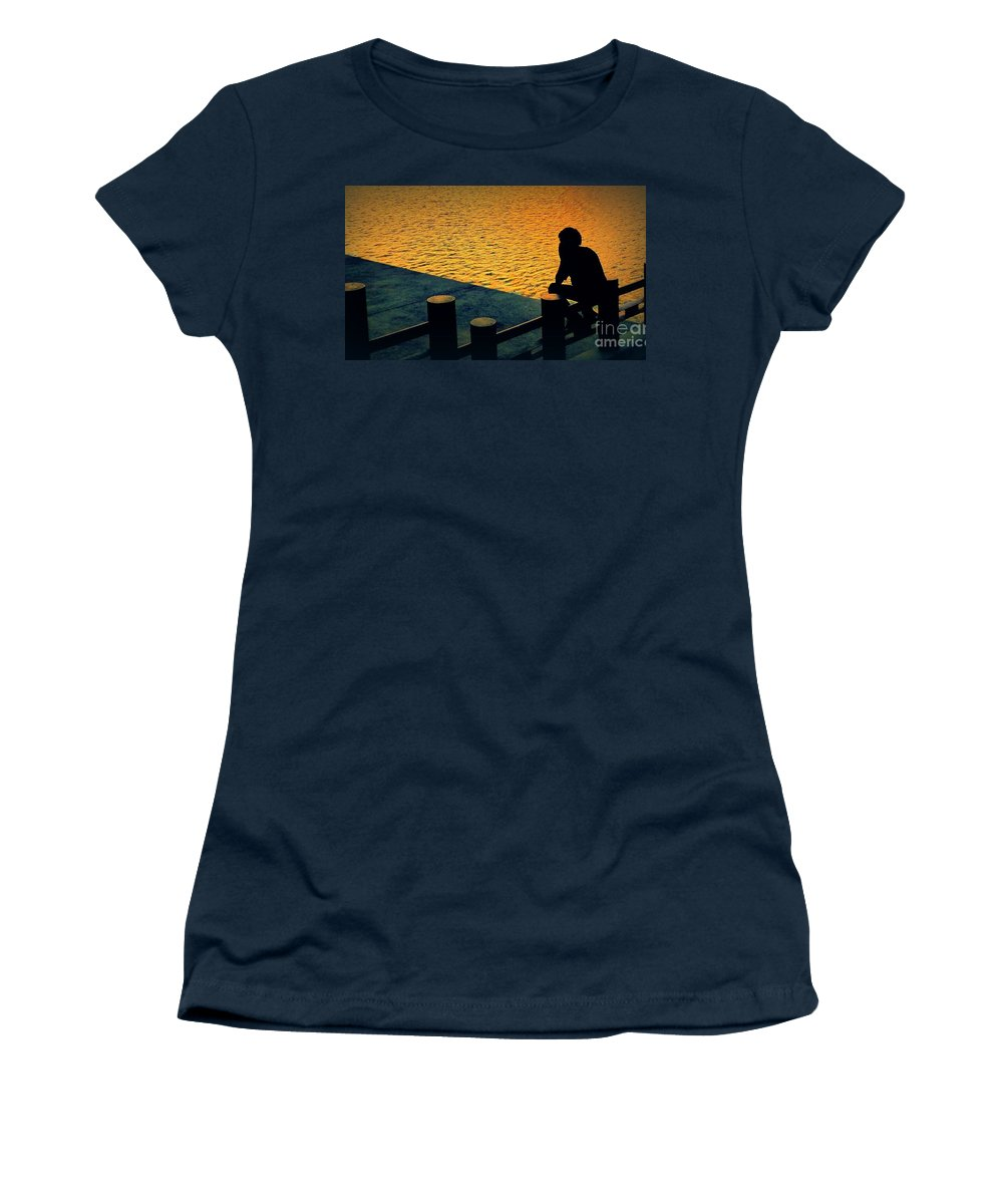 Silhouette Women's T-Shirt featuring the photograph Taking In The Day by Ian Gledhill