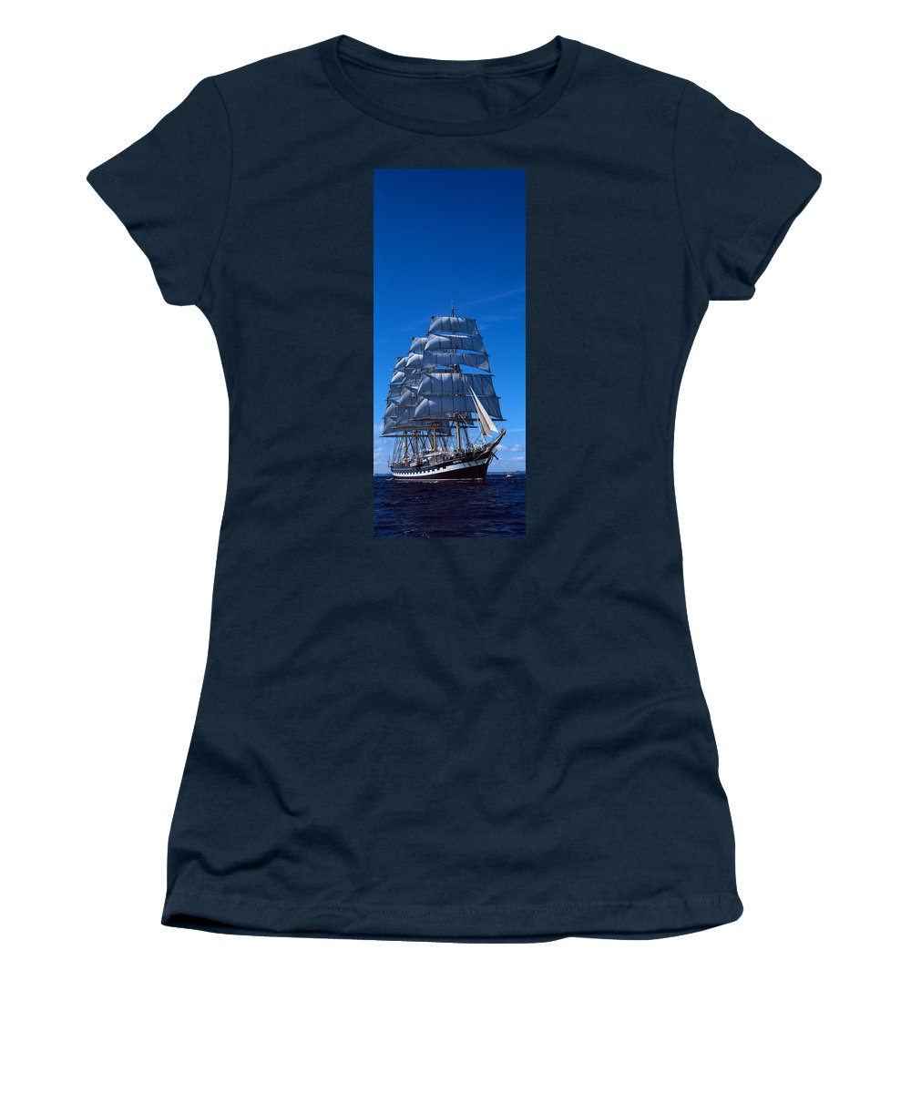 Photography Women's T-Shirt featuring the photograph Tall Ships Race In The Ocean, Baie De by Panoramic Images