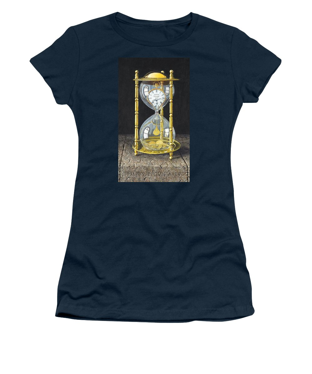 Still Life Women's T-Shirt featuring the painting Tempus Pecunia Est by Richard Harpum